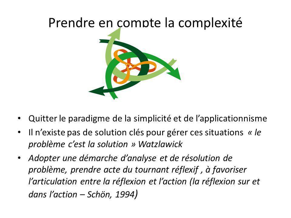 Prendre en compte la complexité Quitter le paradigme de la simplicité et de lapplicationnisme Il nexiste pas de solution clés pour gérer ces situation
