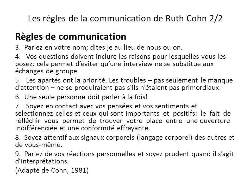 Les règles de la communication de Ruth Cohn 2/2 Règles de communication 3. Parlez en votre nom; dites je au lieu de nous ou on. 4. Vos questions doive