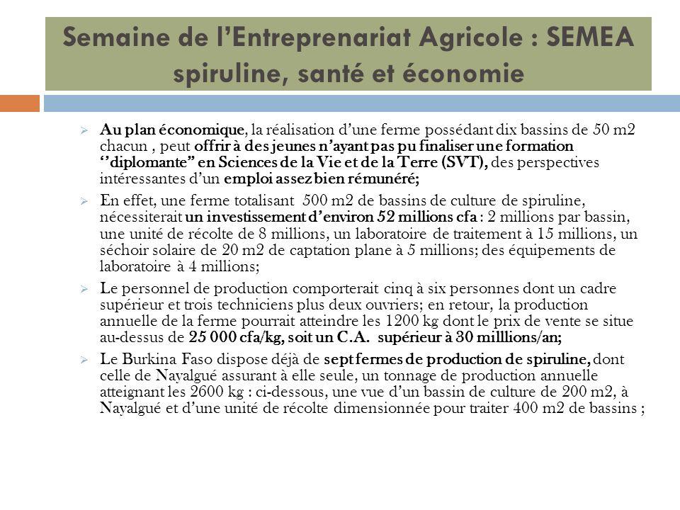 Semaine de lEntreprenariat Agricole : SEMEA spiruline, santé et économie Au plan économique, la réalisation dune ferme possédant dix bassins de 50 m2