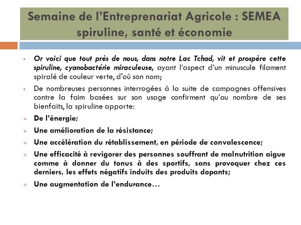 Semaine de lEntreprenariat Agricole : SEMEA spiruline, santé et économie Or voici que tout près de nous, dans notre Lac Tchad, vit et prospère cette s