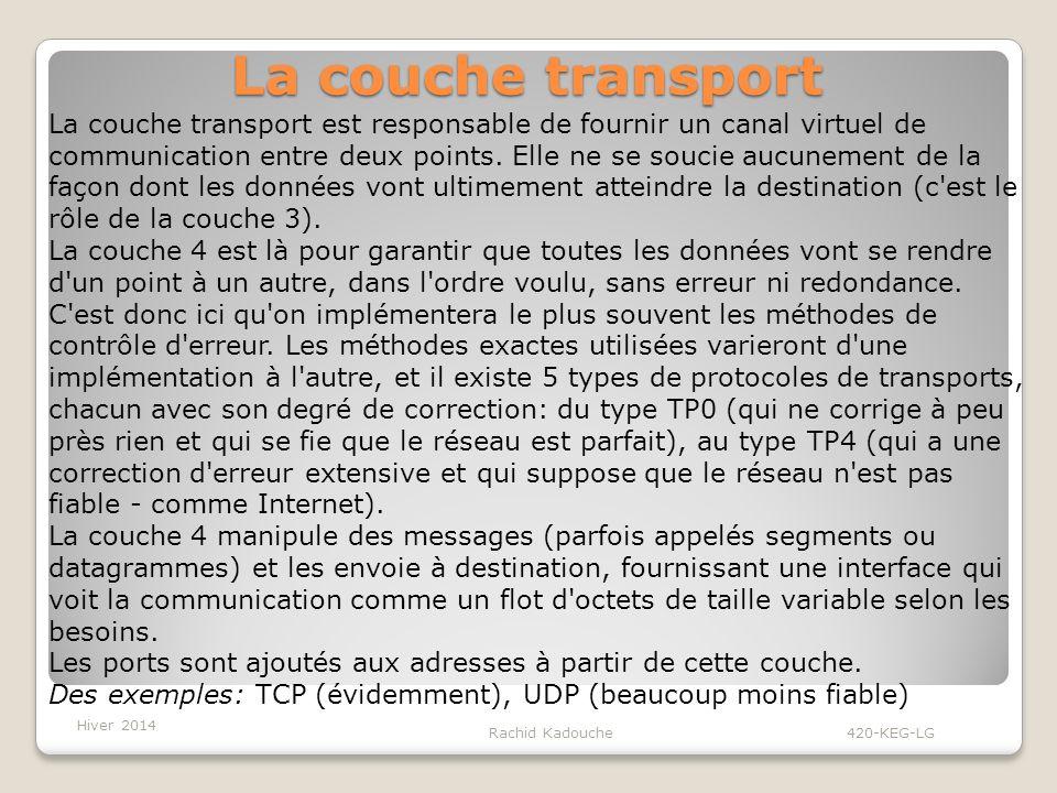 Rachid Kadouche 420-KEG-LG La couche transport La couche transport est responsable de fournir un canal virtuel de communication entre deux points.