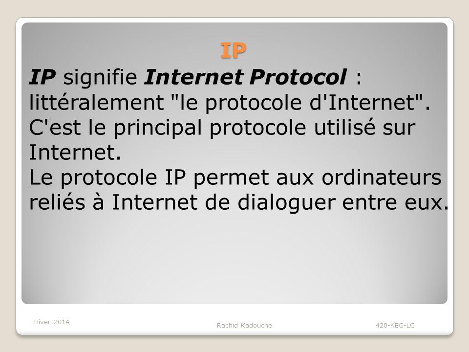 IP Rachid Kadouche 420-KEG-LG IP signifie Internet Protocol : littéralement le protocole d Internet .