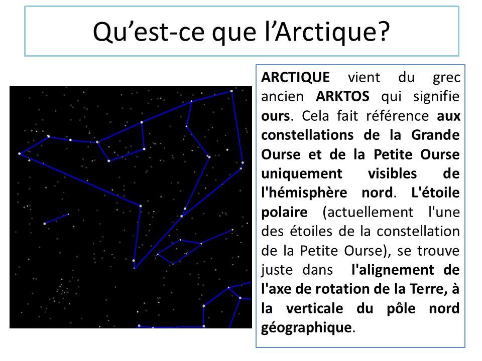 Quest-ce que lArctique? ARCTIQUE vient du grec ancien ARKTOS qui signifie ours. Cela fait référence aux constellations de la Grande Ourse et de la Pet