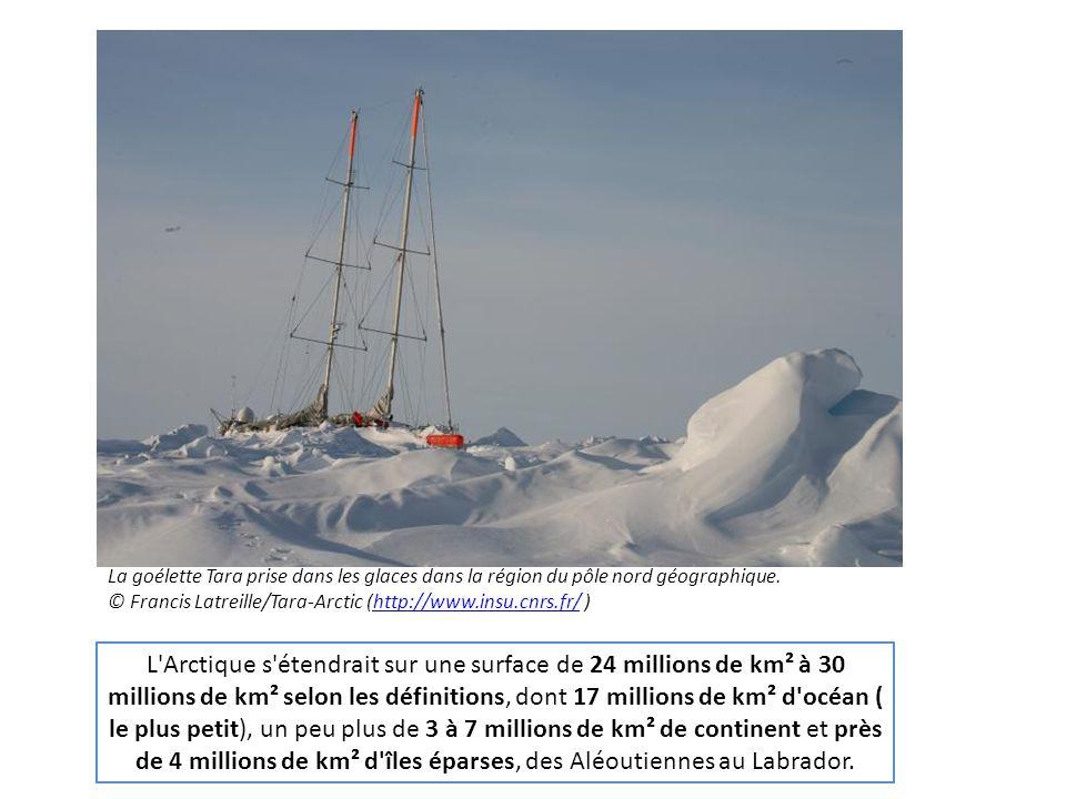L'Arctique s'étendrait sur une surface de 24 millions de km² à 30 millions de km² selon les définitions, dont 17 millions de km² d'océan ( le plus pet