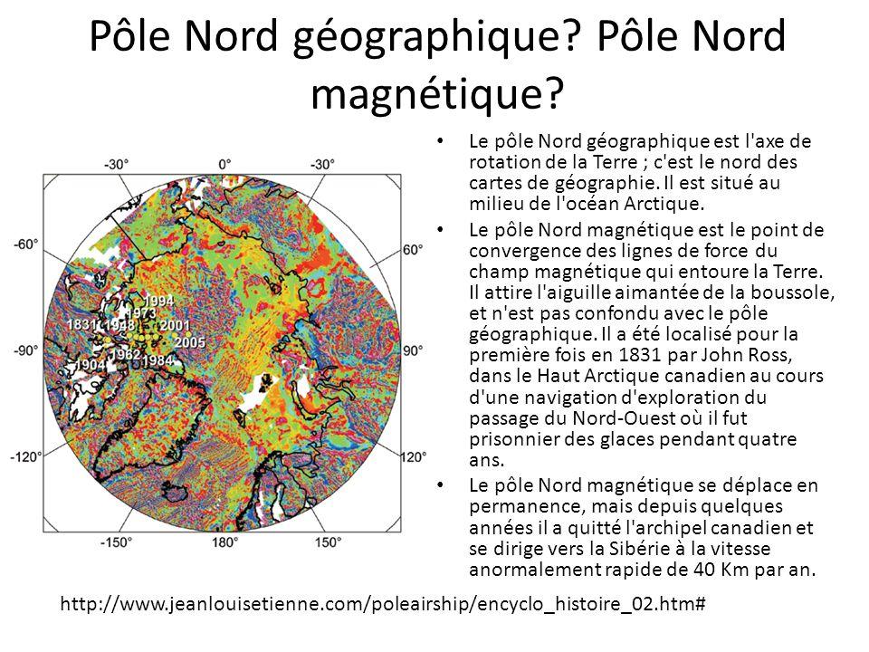 Pôle Nord géographique? Pôle Nord magnétique? Le pôle Nord géographique est l'axe de rotation de la Terre ; c'est le nord des cartes de géographie. Il
