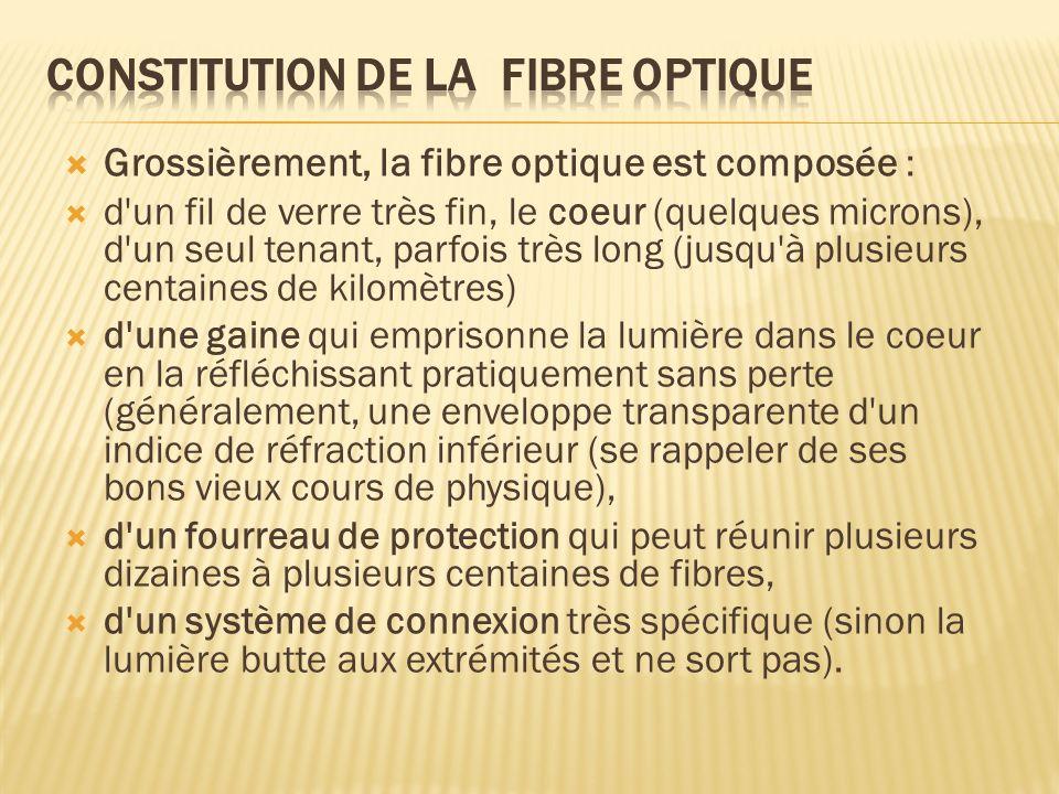 Grossièrement, la fibre optique est composée : d'un fil de verre très fin, le coeur (quelques microns), d'un seul tenant, parfois très long (jusqu'à p