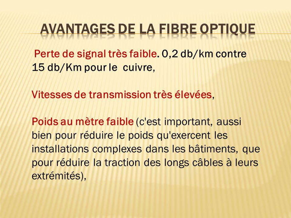 Perte de signal très faible. 0,2 db/km contre 15 db/Km pour le cuivre, Vitesses de transmission très élevées, Poids au mètre faible (c'est important,