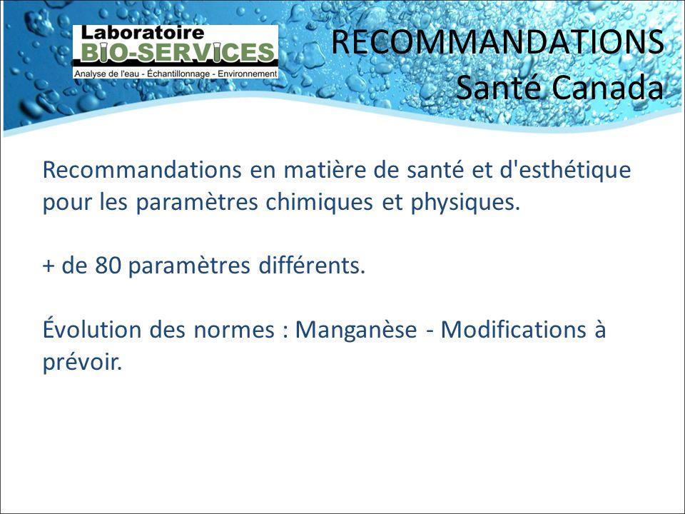 RECOMMANDATIONS Santé Canada Recommandations en matière de santé et d'esthétique pour les paramètres chimiques et physiques. + de 80 paramètres différ