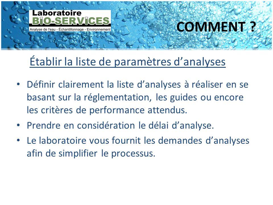 COMMENT ? Établir la liste de paramètres danalyses Définir clairement la liste danalyses à réaliser en se basant sur la réglementation, les guides ou