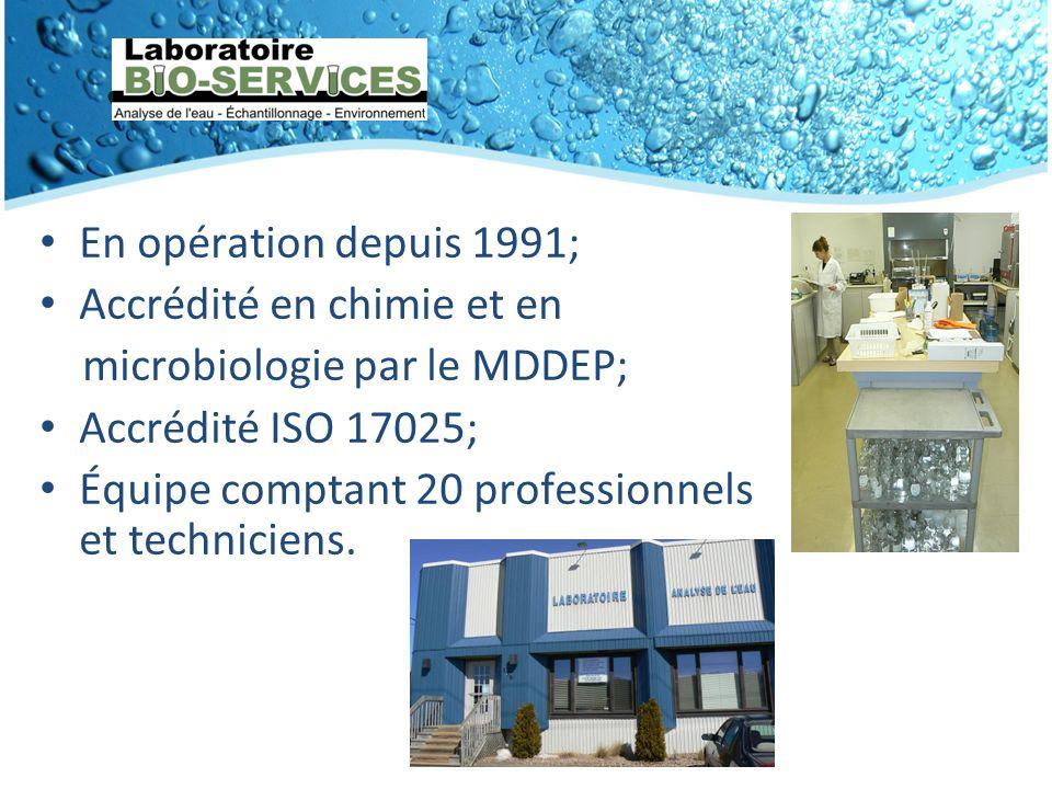 En opération depuis 1991; Accrédité en chimie et en microbiologie par le MDDEP; Accrédité ISO 17025; Équipe comptant 20 professionnels et techniciens.