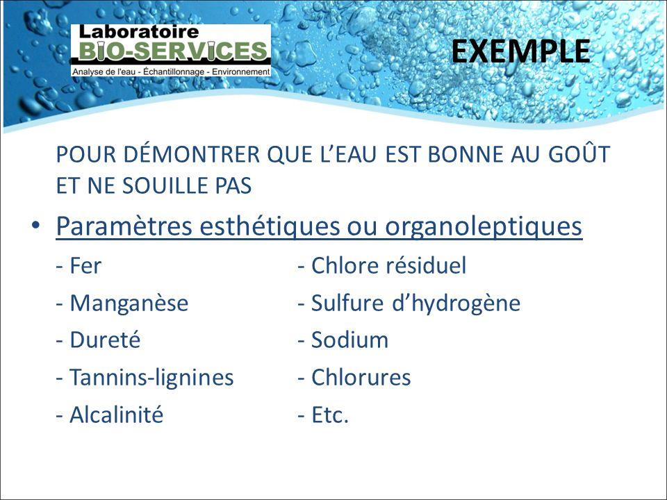 EXEMPLE POUR DÉMONTRER QUE LEAU EST BONNE AU GOÛT ET NE SOUILLE PAS Paramètres esthétiques ou organoleptiques - Fer- Chlore résiduel - Manganèse- Sulf