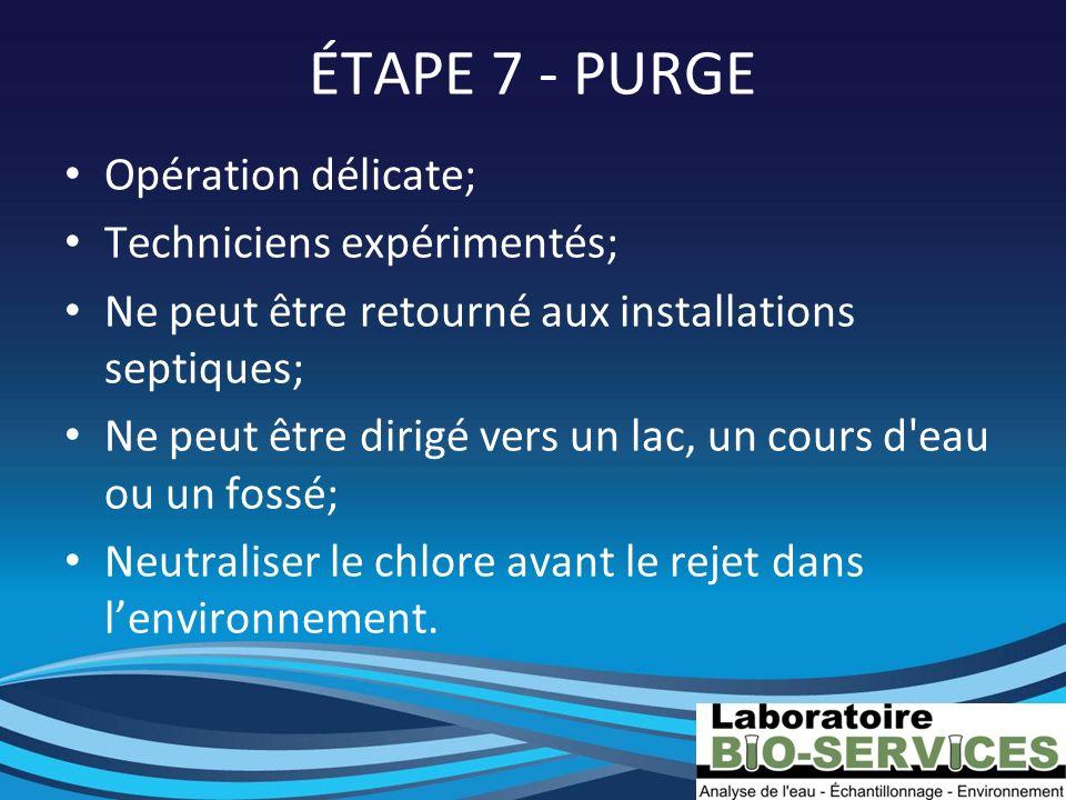 ÉTAPE 7 - PURGE Opération délicate; Techniciens expérimentés; Ne peut être retourné aux installations septiques; Ne peut être dirigé vers un lac, un c