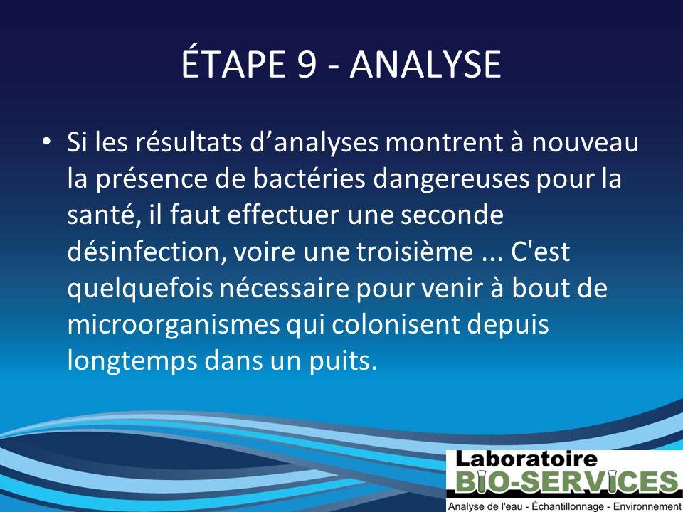 ÉTAPE 9 - ANALYSE Si les résultats danalyses montrent à nouveau la présence de bactéries dangereuses pour la santé, il faut effectuer une seconde dési
