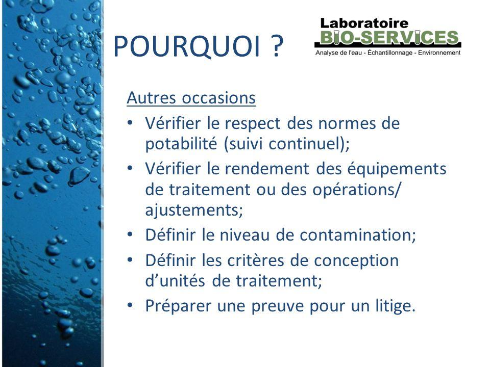 Autres occasions Vérifier le respect des normes de potabilité (suivi continuel); Vérifier le rendement des équipements de traitement ou des opérations