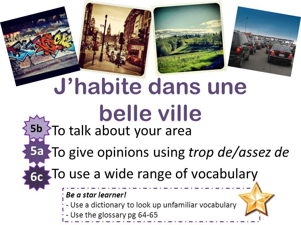 Jhabite dans une belle ville To talk about your area To give opinions using trop de/assez de To use a wide range of vocabulary 5b 5a 6c Be a star lear