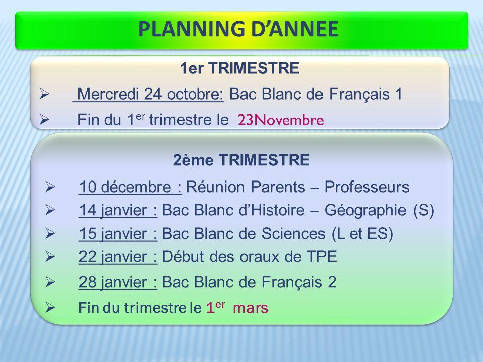 PLANNING DANNEE 1er TRIMESTRE Mercredi 24 octobre: Bac Blanc de Français 1 Fin du 1 er trimestre le 23Novembre 1er TRIMESTRE Mercredi 24 octobre: Bac