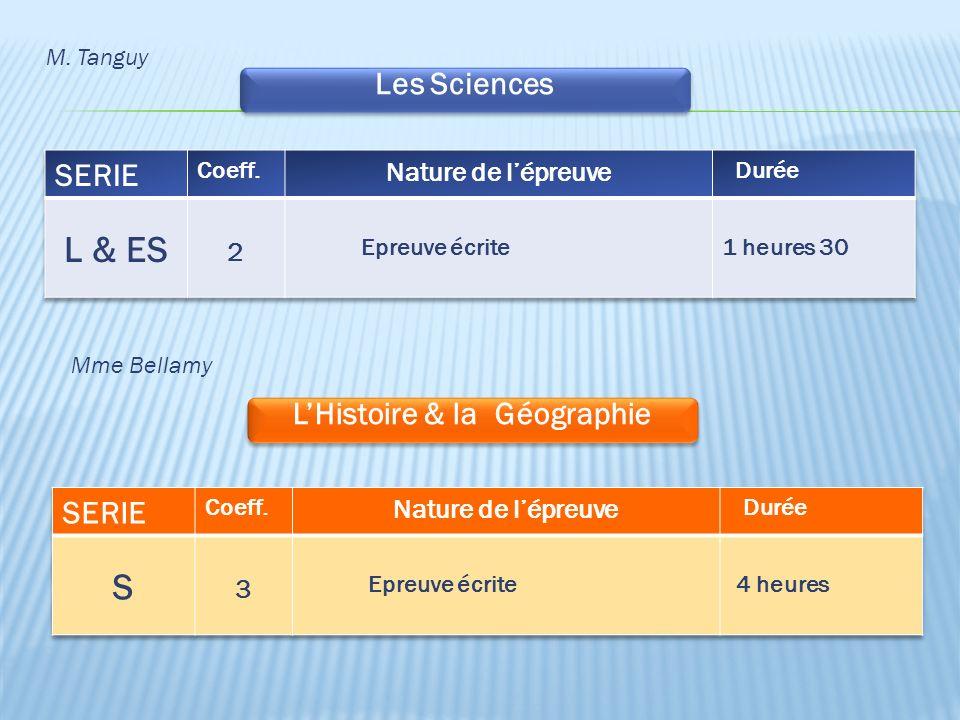 Les Sciences M. Tanguy LHistoire & la Géographie Mme Bellamy