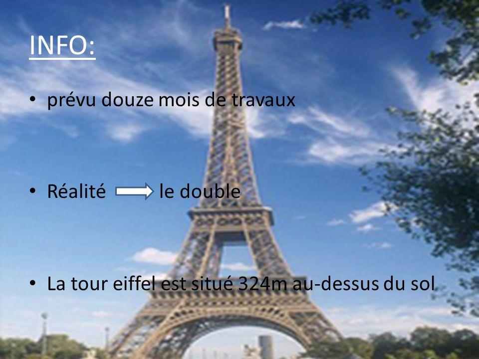 INFO: prévu douze mois de travaux Réalité le double La tour eiffel est situé 324m au-dessus du sol