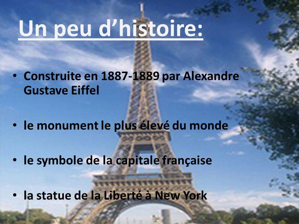 Un peu dhistoire: Construite en 1887-1889 par Alexandre Gustave Eiffel le monument le plus élevé du monde le symbole de la capitale française la statu