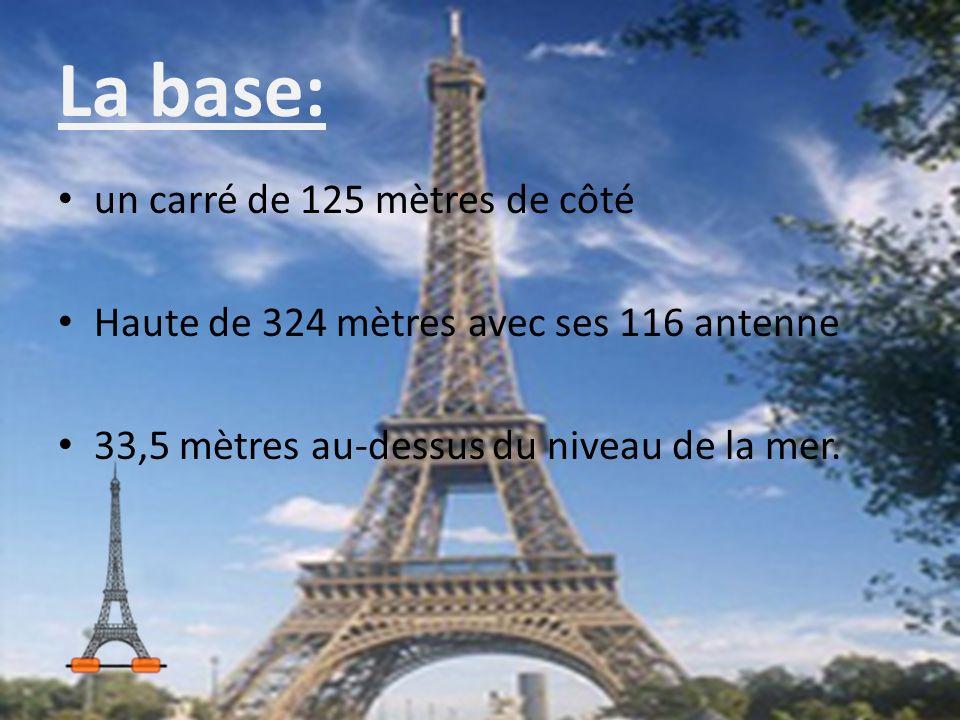 La base: un carré de 125 mètres de côté Haute de 324 mètres avec ses 116 antenne 33,5 mètres au-dessus du niveau de la mer.