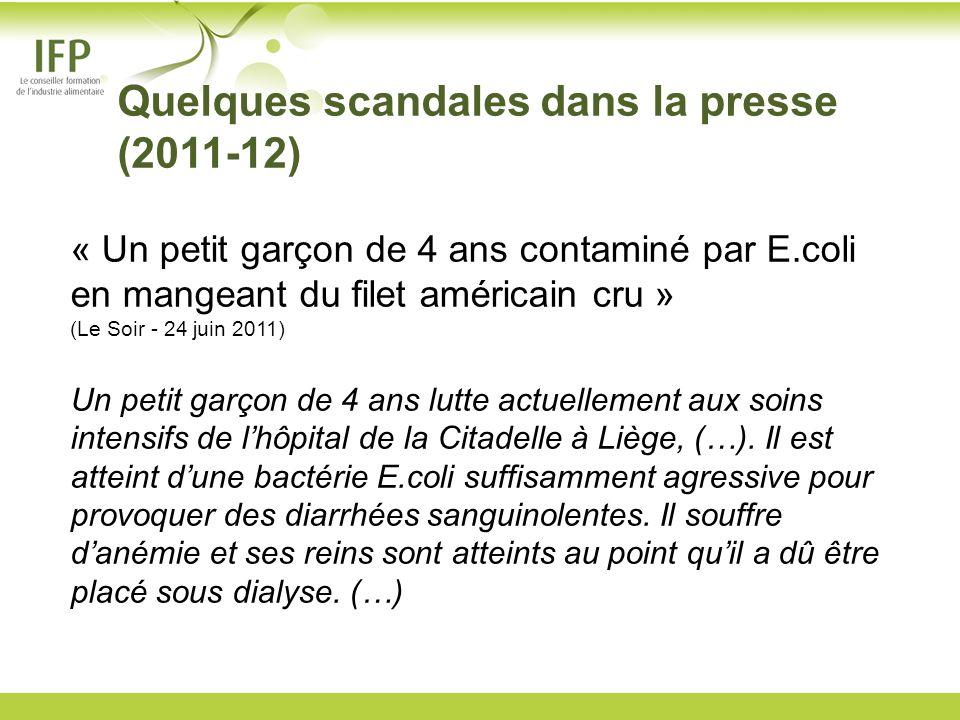Quelques scandales dans la presse (2011-12) « Un petit garçon de 4 ans contaminé par E.coli en mangeant du filet américain cru » (Le Soir - 24 juin 20