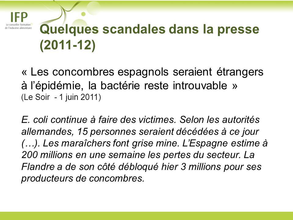Quelques scandales dans la presse (2011-12) « Les concombres espagnols seraient étrangers à lépidémie, la bactérie reste introuvable » (Le Soir - 1 ju