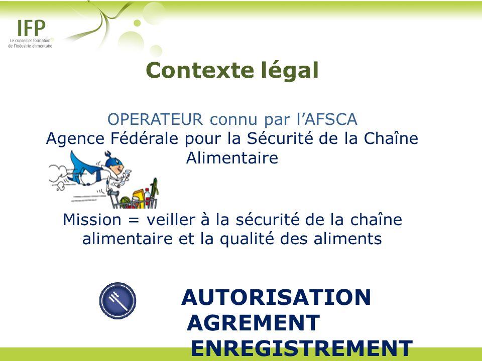 Contexte légal OPERATEUR connu par lAFSCA Agence Fédérale pour la Sécurité de la Chaîne Alimentaire Mission = veiller à la sécurité de la chaîne alime