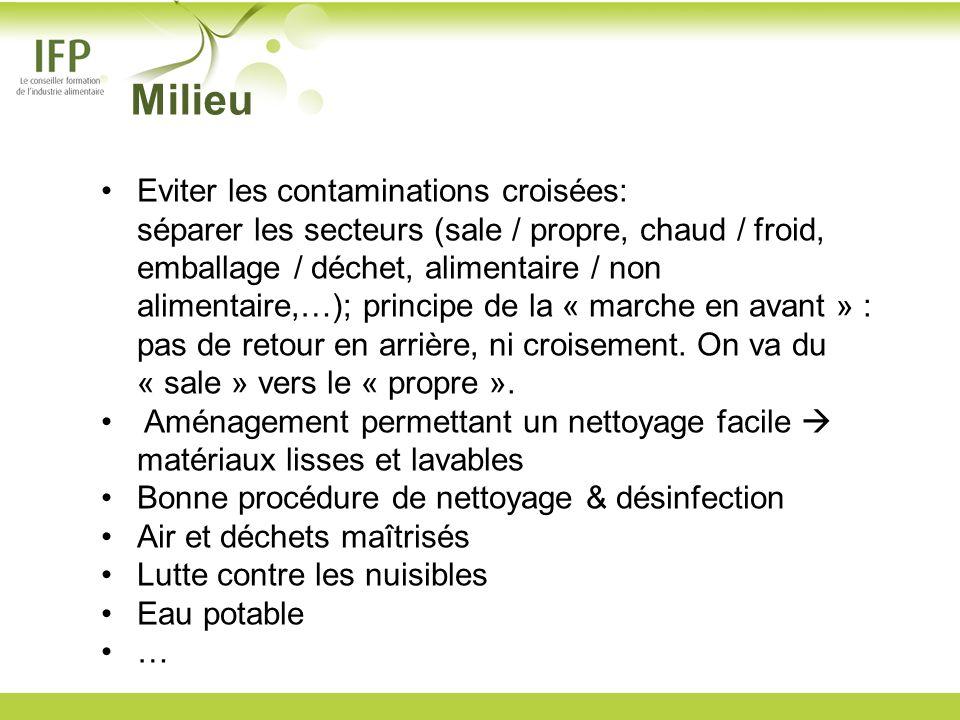 Eviter les contaminations croisées: séparer les secteurs (sale / propre, chaud / froid, emballage / déchet, alimentaire / non alimentaire,…); principe