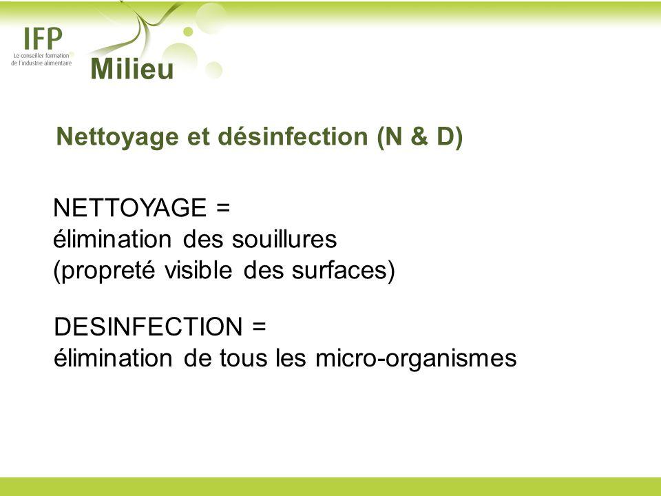 NETTOYAGE = élimination des souillures (propreté visible des surfaces) DESINFECTION = élimination de tous les micro-organismes Milieu Nettoyage et dés