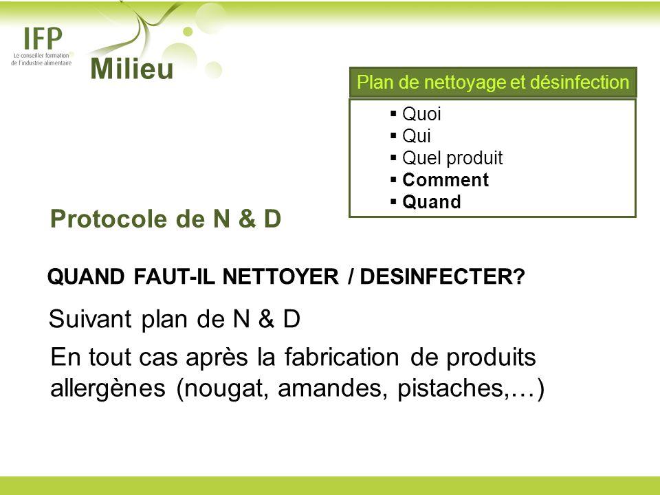 QUAND FAUT-IL NETTOYER / DESINFECTER? Suivant plan de N & D En tout cas après la fabrication de produits allergènes (nougat, amandes, pistaches,…) Mil