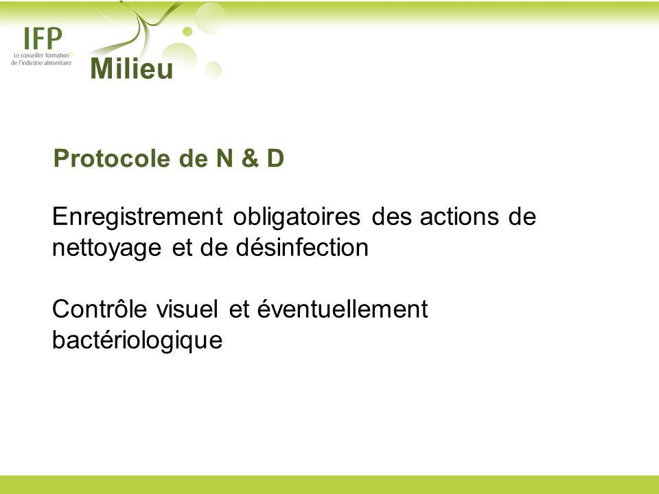 Enregistrement obligatoires des actions de nettoyage et de désinfection Contrôle visuel et éventuellement bactériologique Milieu Protocole de N & D