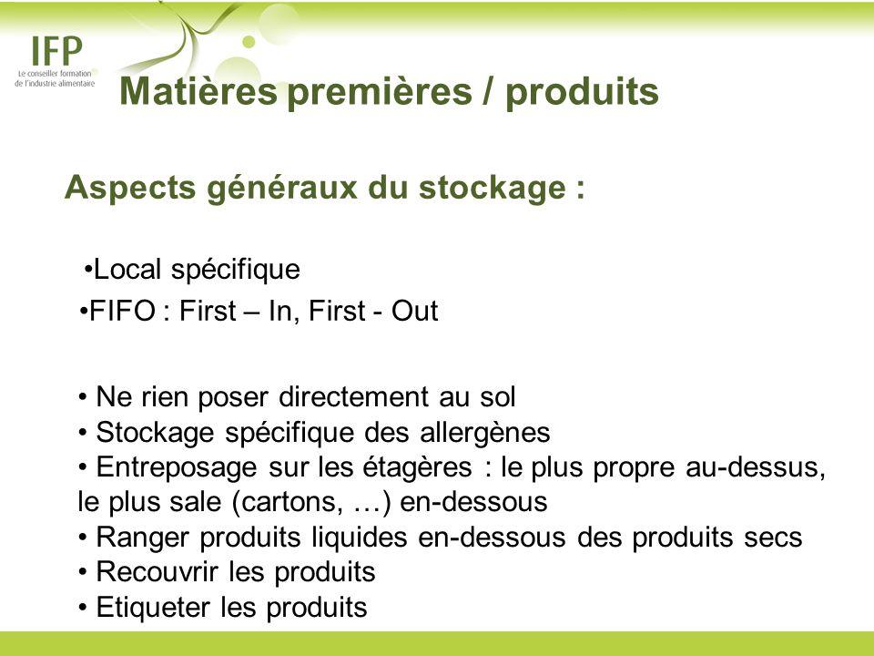 Local spécifique FIFO : First – In, First - Out Ne rien poser directement au sol Stockage spécifique des allergènes Entreposage sur les étagères : le