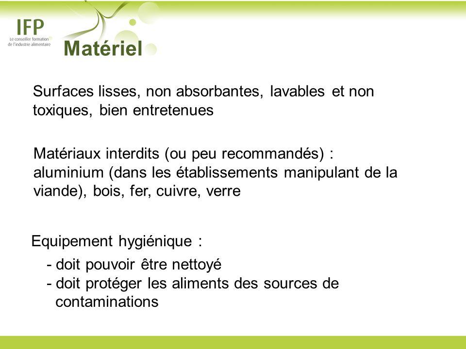 Surfaces lisses, non absorbantes, lavables et non toxiques, bien entretenues Matériaux interdits (ou peu recommandés) : aluminium (dans les établissem
