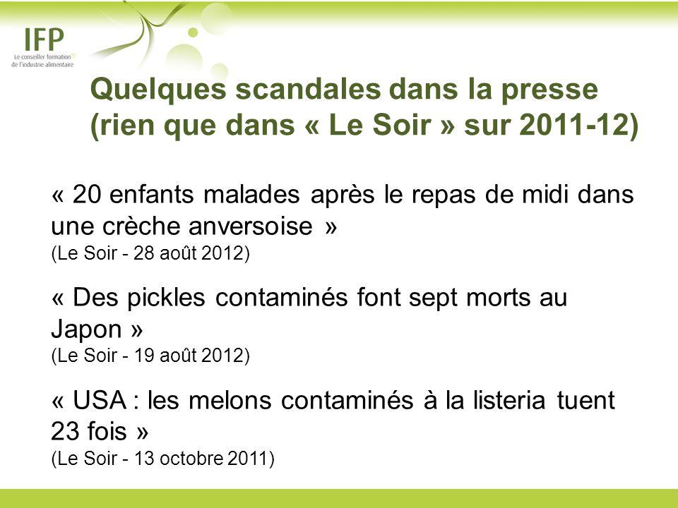 Quelques scandales dans la presse (rien que dans « Le Soir » sur 2011-12) « 20 enfants malades après le repas de midi dans une crèche anversoise » (Le