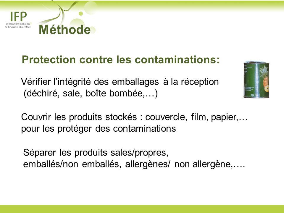 Couvrir les produits stockés : couvercle, film, papier,… pour les protéger des contaminations Vérifier lintégrité des emballages à la réception (déchi