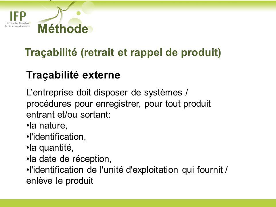Méthode Traçabilité externe Lentreprise doit disposer de systèmes / procédures pour enregistrer, pour tout produit entrant et/ou sortant: la nature, l