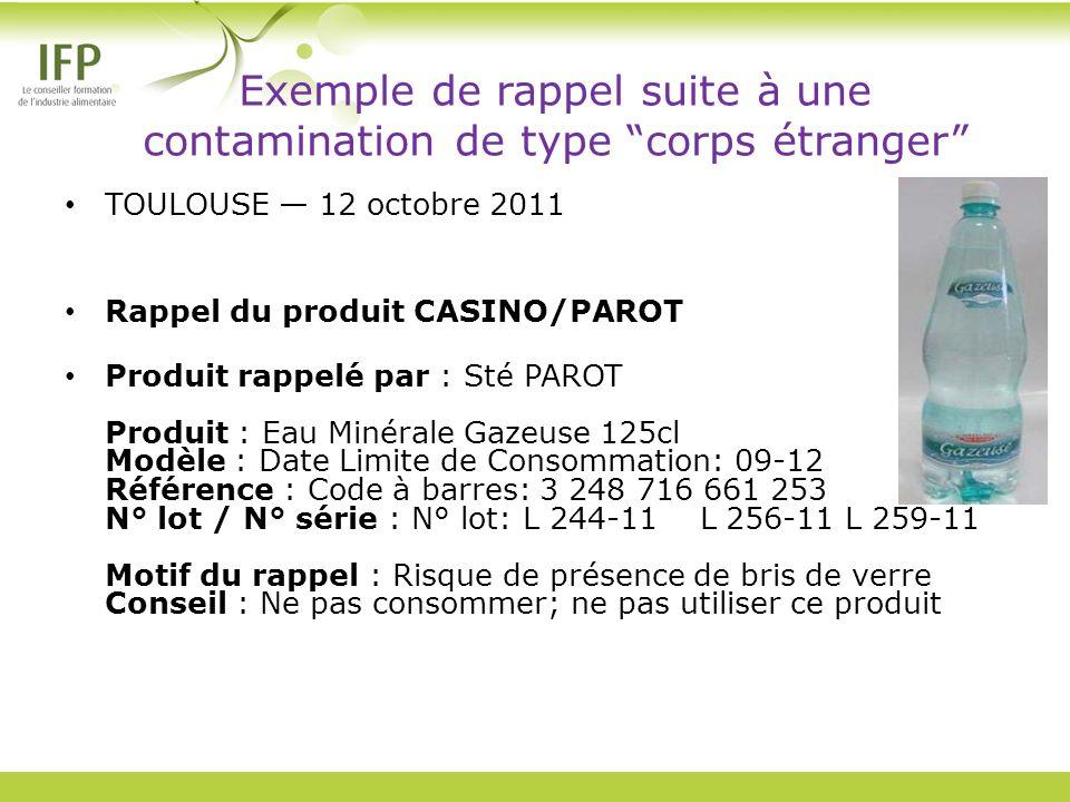 Exemple de rappel suite à une contamination de type corps étranger TOULOUSE 12 octobre 2011 Rappel du produit CASINO/PAROT Produit rappelé par : Sté P