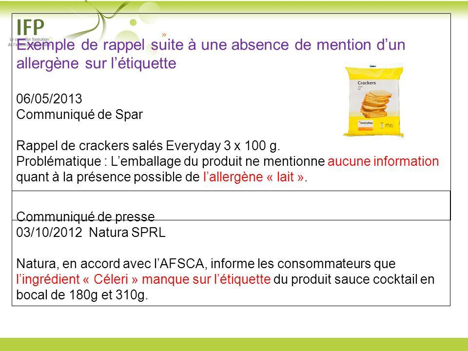 Exemple de rappel suite à une absence de mention dun allergène sur létiquette 06/05/2013 Communiqué de Spar Rappel de crackers salés Everyday 3 x 100