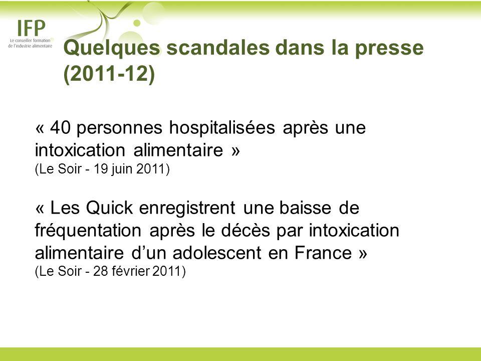 Quelques scandales dans la presse (2011-12) « 40 personnes hospitalisées après une intoxication alimentaire » (Le Soir - 19 juin 2011) « Les Quick enr