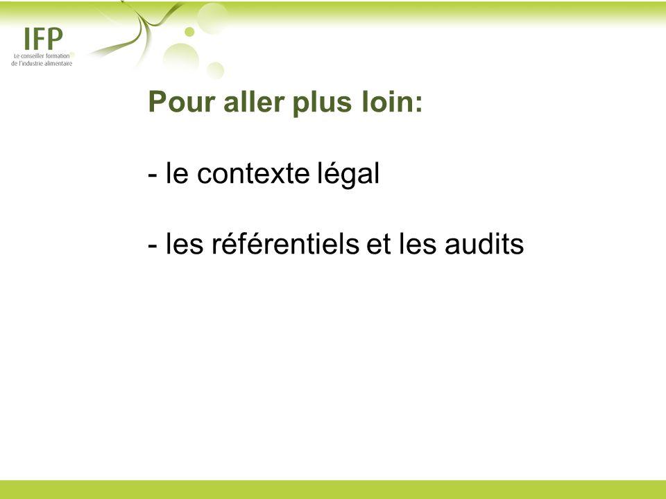 Pour aller plus loin: - le contexte légal - les référentiels et les audits