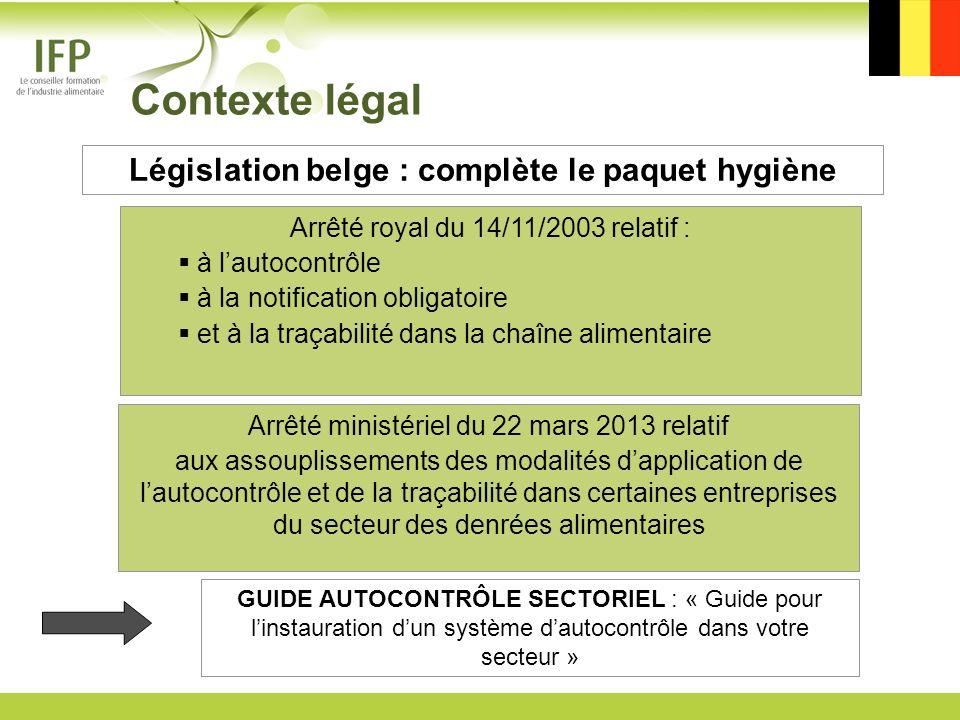 Arrêté royal du 14/11/2003 relatif : à lautocontrôle à la notification obligatoire et à la traçabilité dans la chaîne alimentaire Arrêté ministériel d