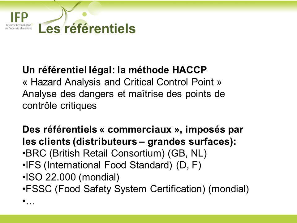 Les référentiels Un référentiel légal: la méthode HACCP « Hazard Analysis and Critical Control Point » Analyse des dangers et maîtrise des points de c