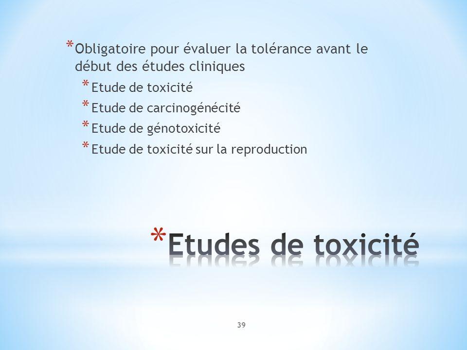 * Obligatoire pour évaluer la tolérance avant le début des études cliniques * Etude de toxicité * Etude de carcinogénécité * Etude de génotoxicité * E