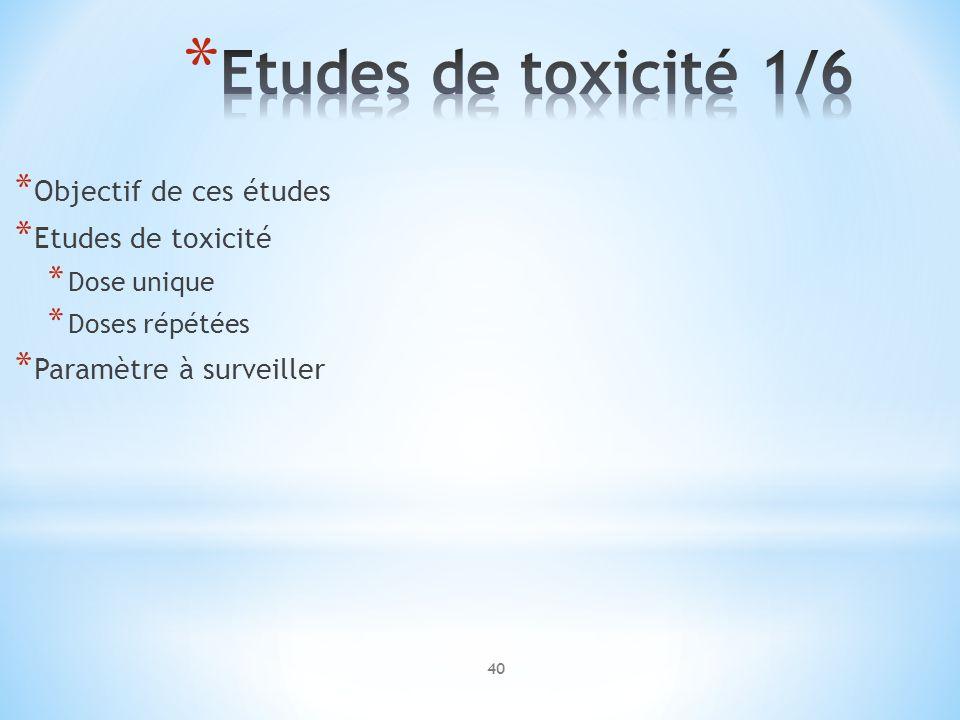 * Objectif de ces études * Etudes de toxicité * Dose unique * Doses répétées * Paramètre à surveiller 40