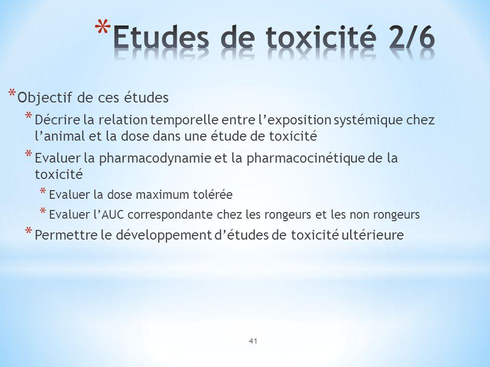 * Objectif de ces études * Décrire la relation temporelle entre lexposition systémique chez lanimal et la dose dans une étude de toxicité * Evaluer la