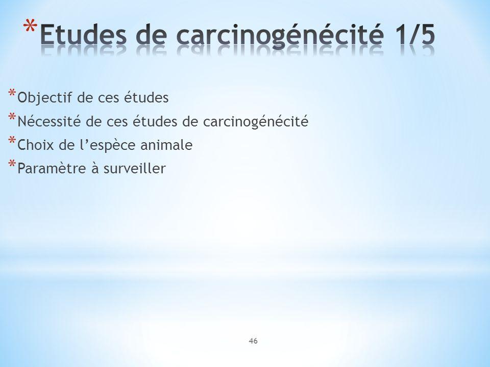 * Objectif de ces études * Nécessité de ces études de carcinogénécité * Choix de lespèce animale * Paramètre à surveiller 46