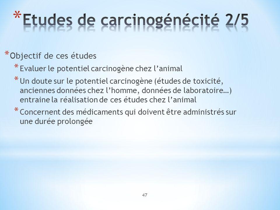 * Objectif de ces études * Evaluer le potentiel carcinogène chez lanimal * Un doute sur le potentiel carcinogène (études de toxicité, anciennes donnée