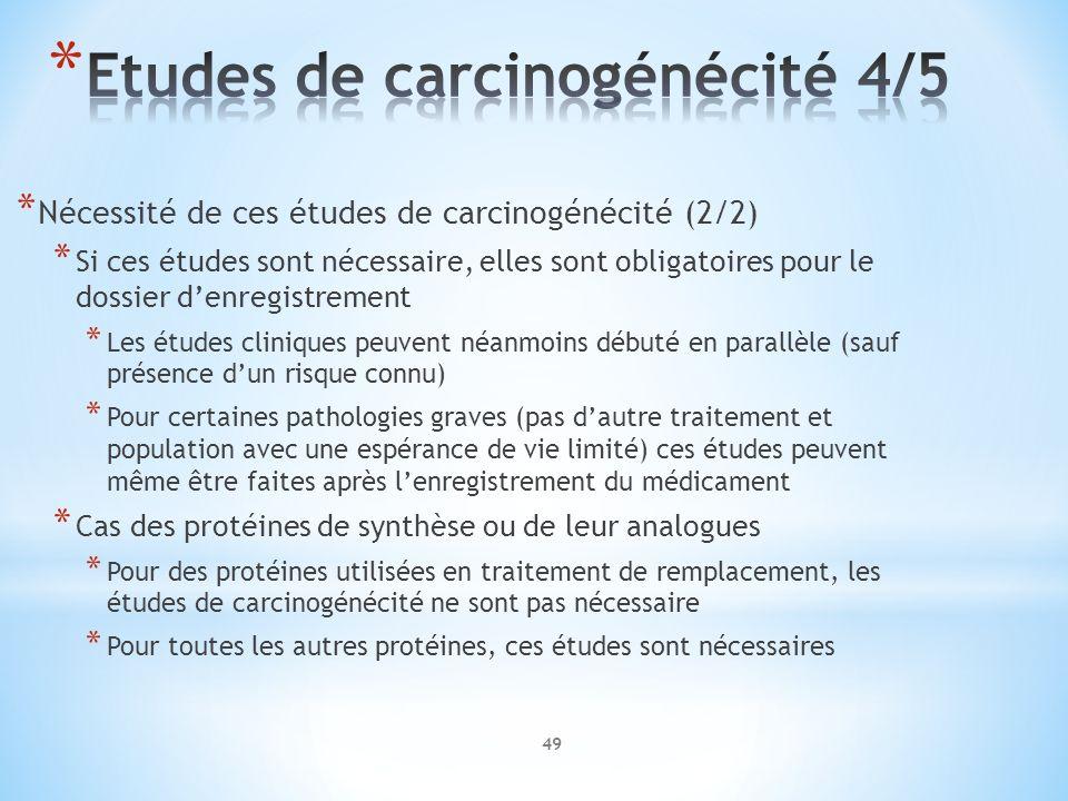 * Nécessité de ces études de carcinogénécité (2/2) * Si ces études sont nécessaire, elles sont obligatoires pour le dossier denregistrement * Les étud