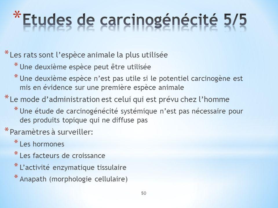 * Les rats sont lespèce animale la plus utilisée * Une deuxième espèce peut être utilisée * Une deuxième espèce nest pas utile si le potentiel carcino