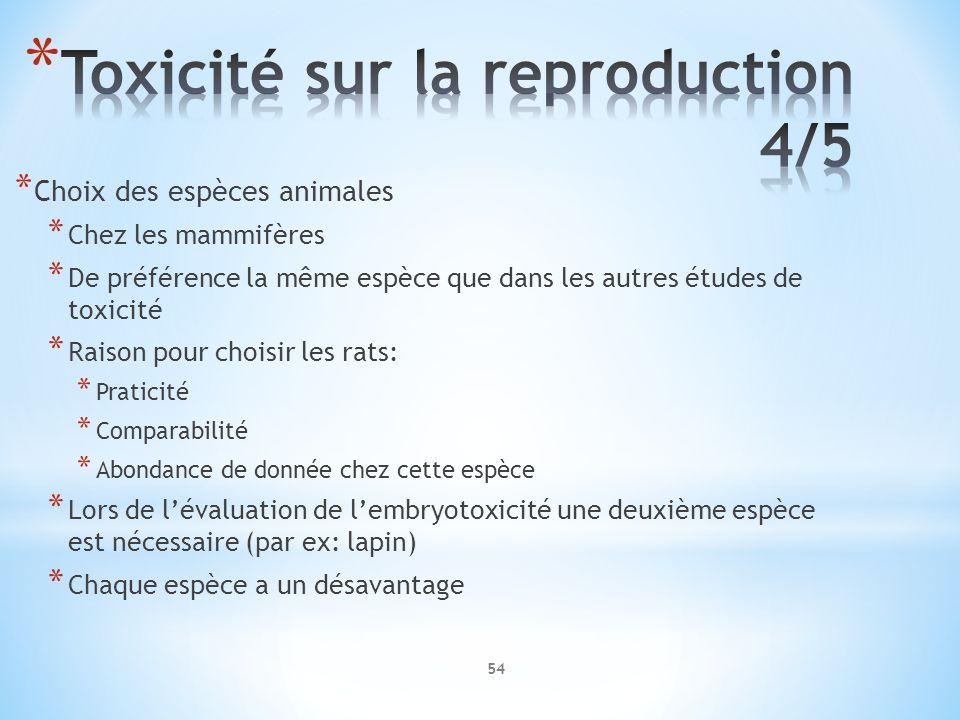 * Choix des espèces animales * Chez les mammifères * De préférence la même espèce que dans les autres études de toxicité * Raison pour choisir les rat